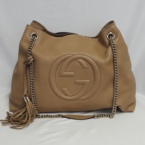New GUCCI 310306 Soho Tan Leather tote bag